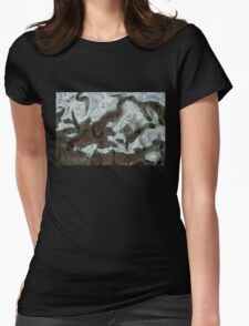 Silver Metal Pattern Rocks Womens Fitted T-Shirt