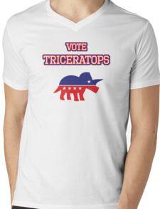 Vote Triceratops Mens V-Neck T-Shirt