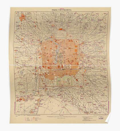 Vintage Map of Beijing China (1907) Poster