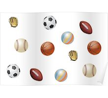 Photo's of ball's from different sports Poster