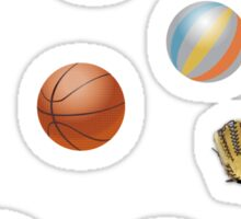 Photo's of ball's from different sports Sticker