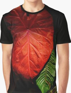 Red Elephant Ear Leaf Graphic T-Shirt