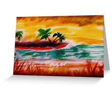 Sunrise at  the beach, watercolor Greeting Card