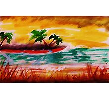 Sunrise at  the beach, watercolor Photographic Print