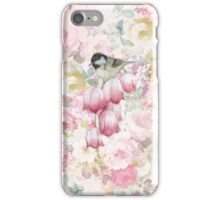 Pink pastel vintage roses flowers bird painting  iPhone Case/Skin