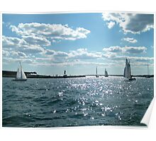 Sails in the Narragansett Bay to the Atlantic Ocean Poster