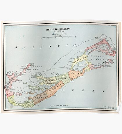 Vintage Map of Bermuda (1901) Poster