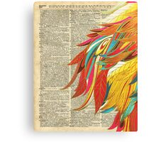 Colourful flaming feathers over old encyclopedia page Dictionary Art Canvas Print