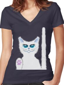 SNOWBELL THE CAT Women's Fitted V-Neck T-Shirt