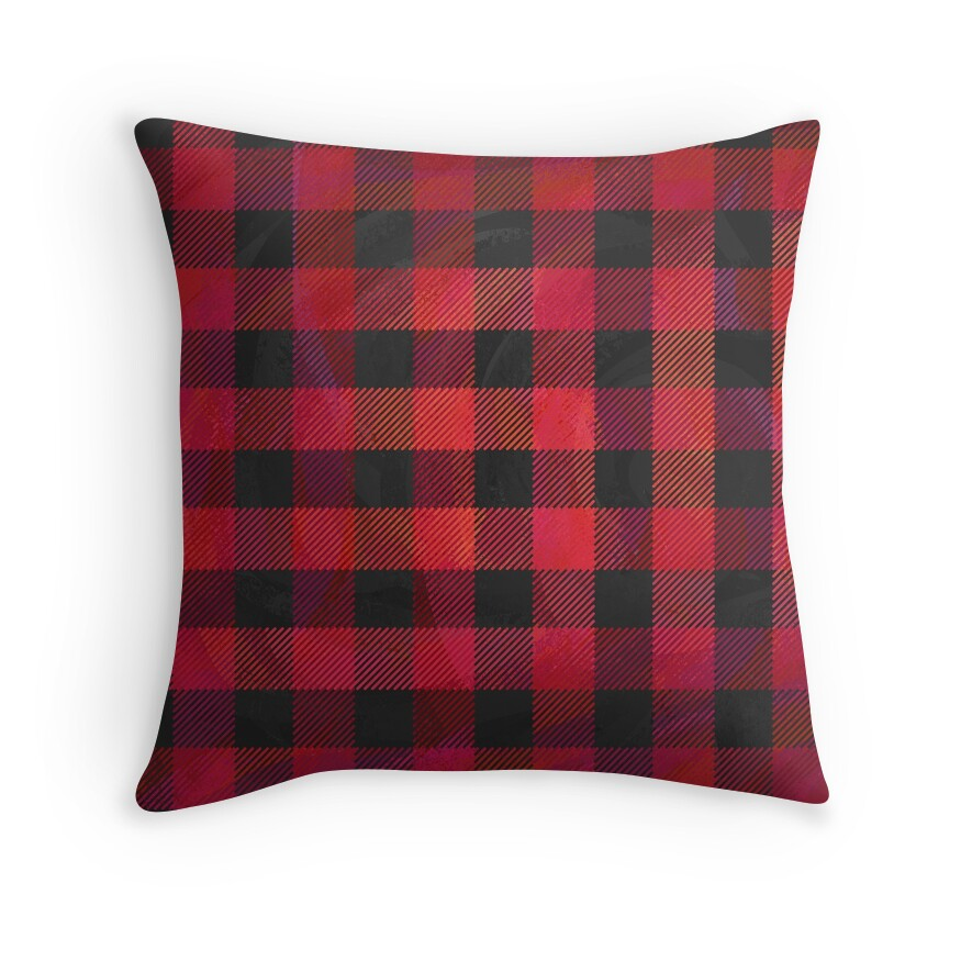 Black Plaid Throw Pillow :