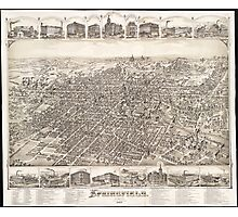 Vintage Pictorial Map of Springfield Ohio (1884) Photographic Print