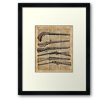 Vintage Weapons Antique Guns Dictionary Art Framed Print