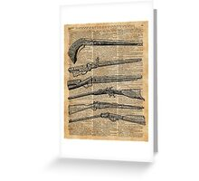 Vintage Weapons Antique Guns Dictionary Art Greeting Card