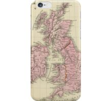 Vintage Map of The British Isles (1864) iPhone Case/Skin