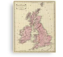 Vintage Map of The British Isles (1864) Canvas Print