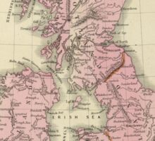Vintage Map of The British Isles (1864) Sticker