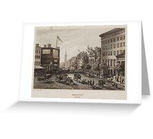 Vintage Broadway NYC Illustration (1840) Greeting Card
