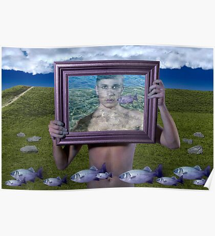 Flying Fish (Magritte) Poster