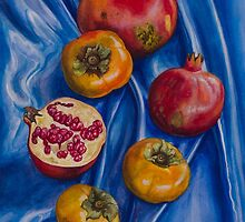 Pomegranates and persimmons on blue silk by Yuliya Glavnaya