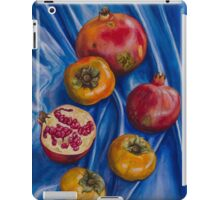 Pomegranates and persimmons on blue silk iPad Case/Skin
