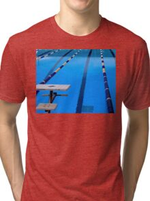 Swimming Pool - Blue & Cool Tri-blend T-Shirt