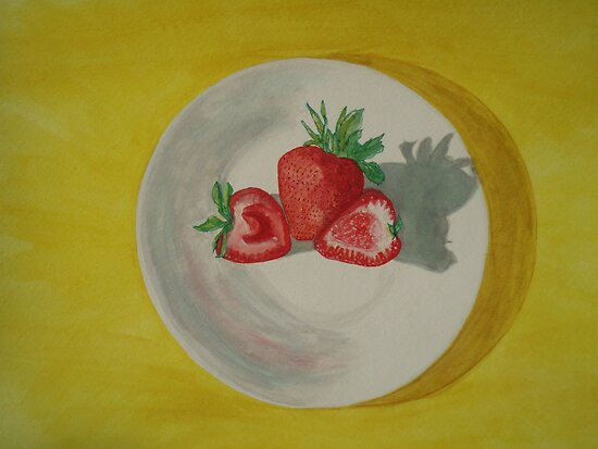 Water color of strawberrys by moregoodart