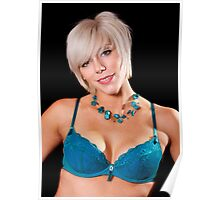 Tracey - Turquoise Bra Poster
