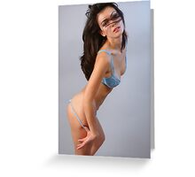 Portrait of elegant brunette woman in blue sexy lingerie Greeting Card