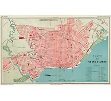 Vintage Map of Buenos Aires Argentina (1888) Photographic Print