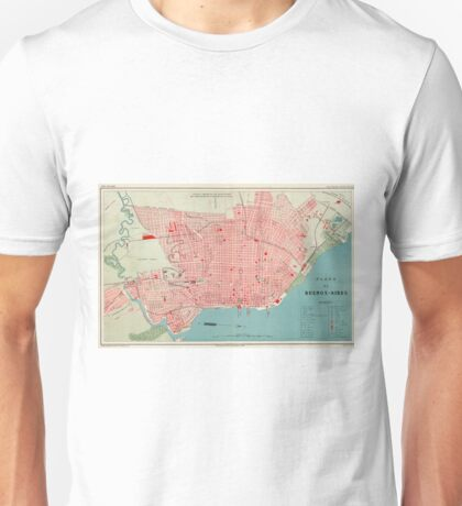 Vintage Map of Buenos Aires Argentina (1888) Unisex T-Shirt