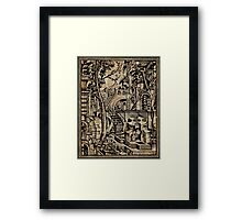 Perspective Trippy Geometry Vintage Mediterranean Dictionary Art Framed Print