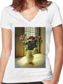 Flowered Window Light Raphoe, Donegal, Ireland Women's Fitted V-Neck T-Shirt