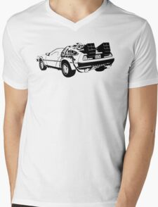 Back to the Future - Delorean Mens V-Neck T-Shirt