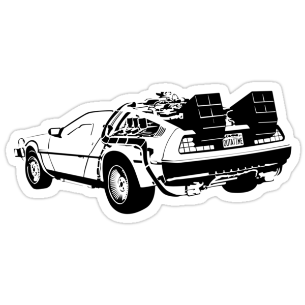 back to the future delorean stickers by hoodoo. Black Bedroom Furniture Sets. Home Design Ideas