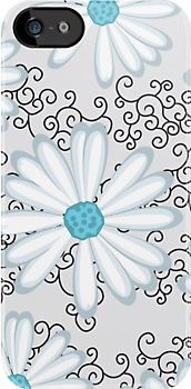 Turquoise Silver and Black Floral Daisy Design by rozine