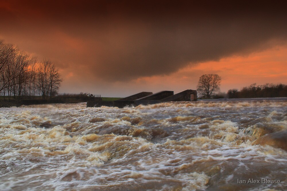 Broken Scar V, River Tees, Stormy  December afternoon by Ian Alex Blease