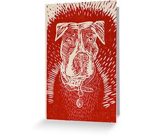 Pit Bull Woodcut Greeting Card