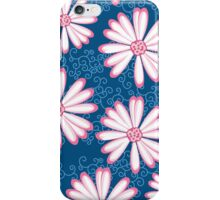Hot Pink, Navy Blue and White Daisy Flower Design iPhone Case/Skin