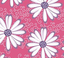Pretty Princess Pink and Purple Flower Pattern by rozine