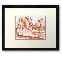 Mad Hatters Tea Part - Orange Framed Print