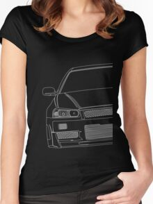 R34 outline - white Women's Fitted Scoop T-Shirt