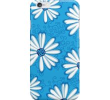 Pretty Sky Blue and White Daisy Flower Tribal Tattoo Design iPhone Case/Skin