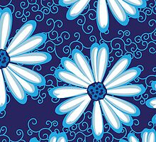 Pretty Navy Blue and White Daisy Flower Tribal Tattoo Design by rozine