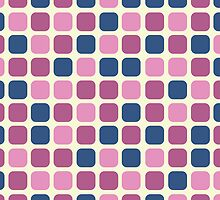 Pink and Blue Retro Squares in Polka Dot Pattern by rozine