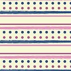 Pink and Blue Retro Polka Dots and Stripes Pattern by rozine