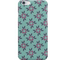 Retro Flower Wallpaper Design - Teal, Navy Blue and Mauve Pink iPhone Case/Skin