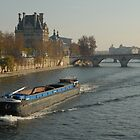 Barge on River Seine, Paris by GRoyer