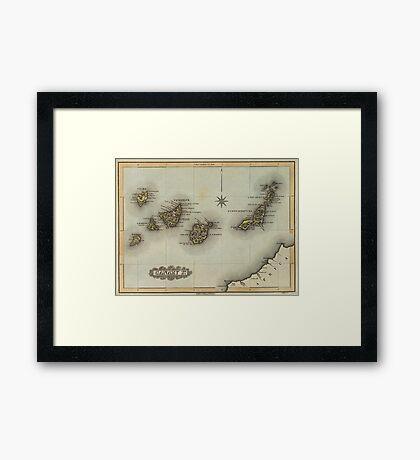 Vintage Map of The Canary Islands (1823) Framed Print