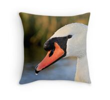 Mute Swan (and riverbank) Throw Pillow