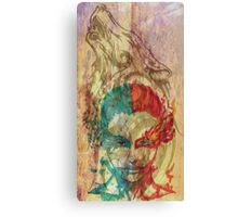 Fire & Ice Woman with Wolf Canvas Print